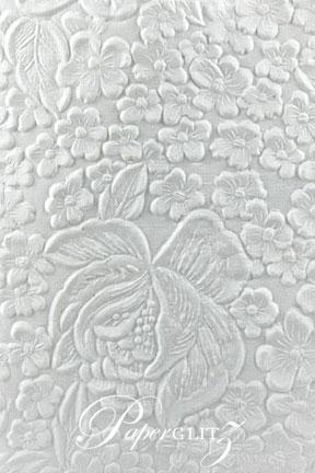 Petite Glamour Pocket - Embossed Flowers White Matte