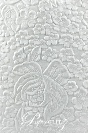 Handmade Embossed Paper - Embossed Flowers White Matte A4 Sheets