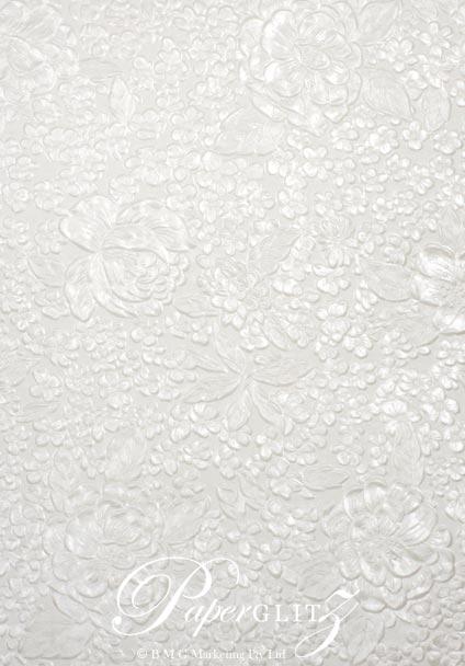 Handmade Embossed Paper - Embossed Flowers White Pearl - Strips 49.5x300mm 25Pck