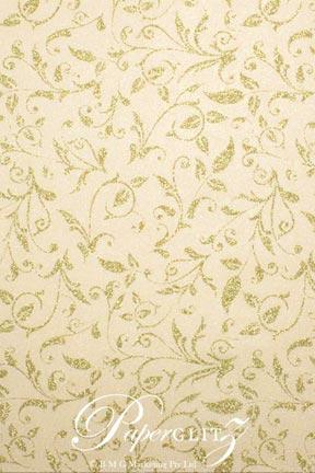 Handmade Chiffon Paper - Enchanting Ivory Pearl & Gold Glitter A4 Sheets