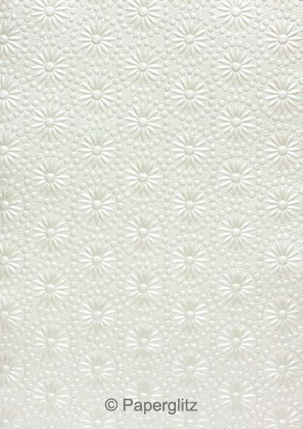 Handmade Embossed Paper - Eternity White Pearl A4 Sheets