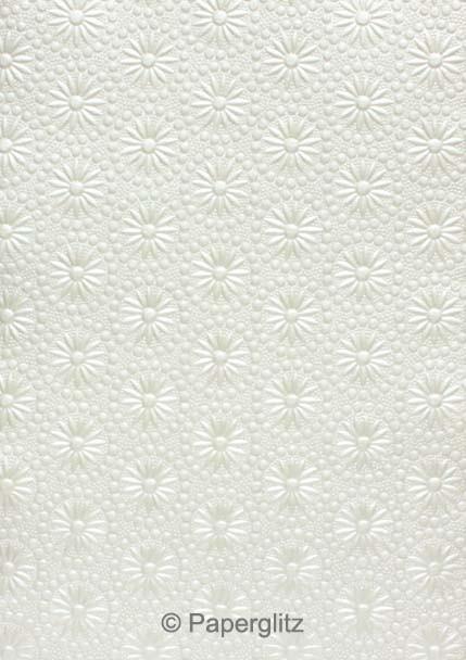 Handmade Embossed Paper - Eternity White Pearl Full Sheet (56x76cm)