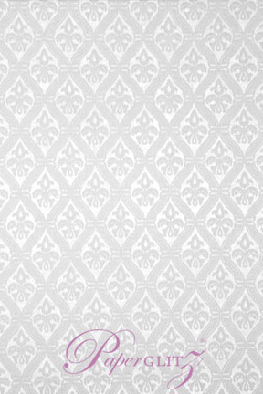 Handmade Flocked Paper - Fleur Bridal White Flock on White Pearl A4 Sheets