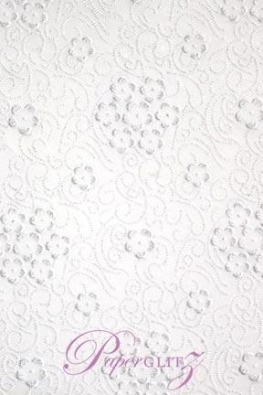 Handmade Chiffon Paper - Florelle White Print & Silver Glitter Full Sheets (56x76cm)