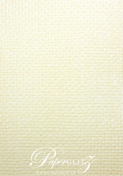 Glamour Pocket 150mm Square - Embossed Jute Ivory Pearl