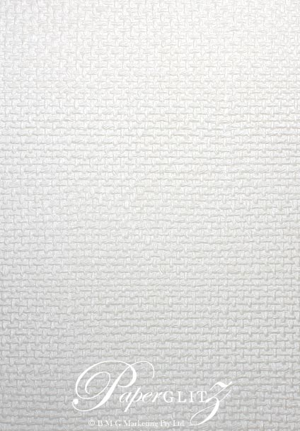 Glamour Pocket 150mm Square - Embossed Jute White Pearl