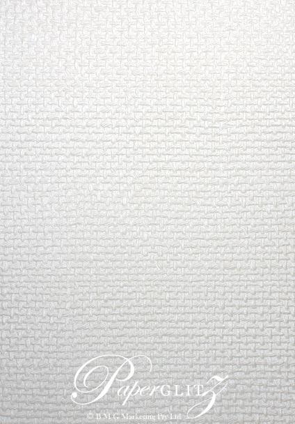 Handmade Embossed Paper - Jute White Pearl Full Sheet (56x76cm)
