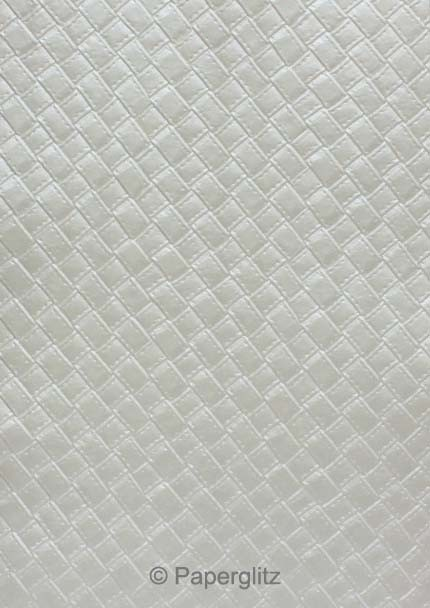 Handmade Embossed Paper - Leatherette Silver Pearl A4 Sheets