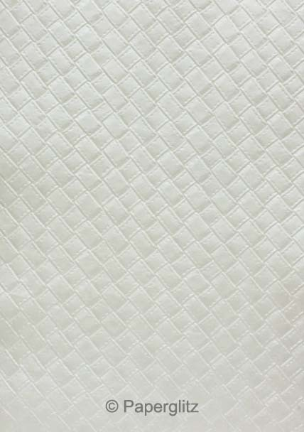 Handmade Embossed Paper - Leatherette White Pearl Full Sheet (56x76cm)