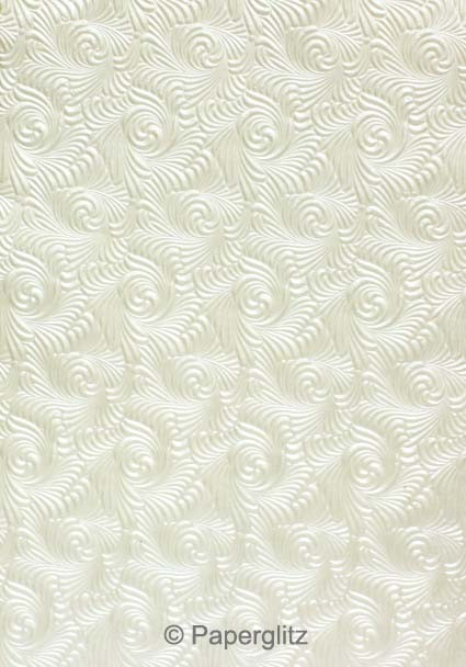 Handmade Embossed Paper - Majestic Swirl White Pearl A4 Sheets