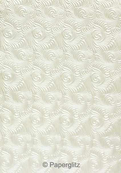 Handmade Embossed Paper - Majestic Swirl White Pearl Full Sheet (56x76cm)