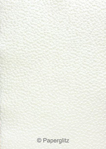 Handmade Embossed Paper - Modena White Pearl - Strips 49.5x211mm 25Pck