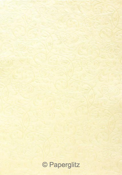 Handmade Embossed Paper - Olivia Ivory Pearl A4 Sheets