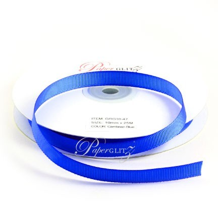 10mm Gros Grain Ribbon - Double Sided 25Mtr Roll - Carribean Blue
