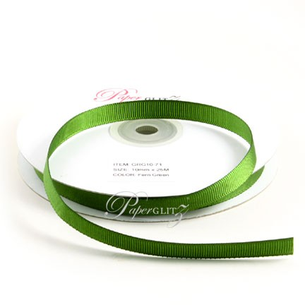 10mm Gros Grain Ribbon - Double Sided 25Mtr Roll - Fern Green