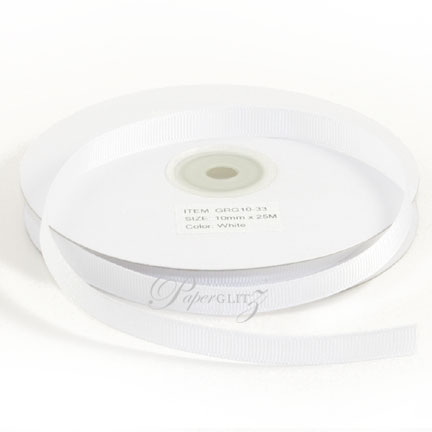 10mm Gros Grain Ribbon - Double Sided 25Mtr Roll - White