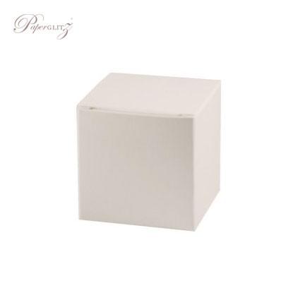 5cm Cube Box - Crystal Perle Metallic Arctic White