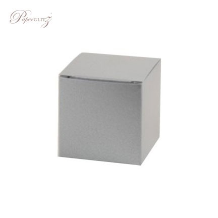 5cm Cube Box - Crystal Perle Metallic Steele Silver