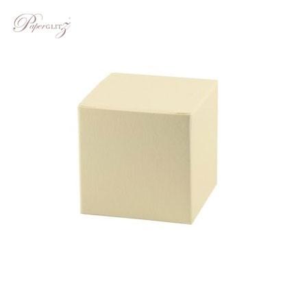 5cm Cube Box - Curious Metallics White Gold