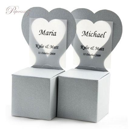 Chair Box - Heart - Crystal Perle Metallic Steele Silver