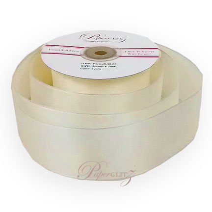 Parasilk 38mm Wired Edge Ribbon - Ivory - 25Mtr Roll
