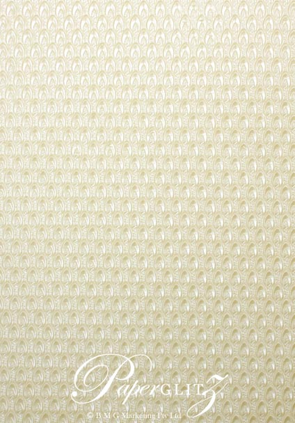 Handmade Embossed Paper - Peacock Ivory Pearl A4 Sheets