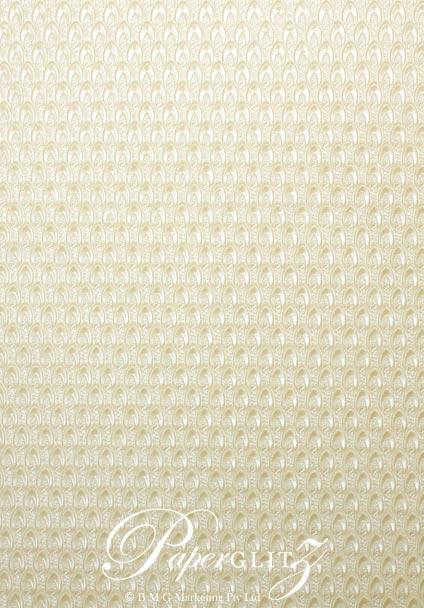 Handmade Embossed Paper - Peacock Ivory Pearl Full Sheet (56x76cm)
