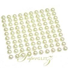Self-Adhesive Flat Back Pearls - 4mm Ivory - Sheet of 100
