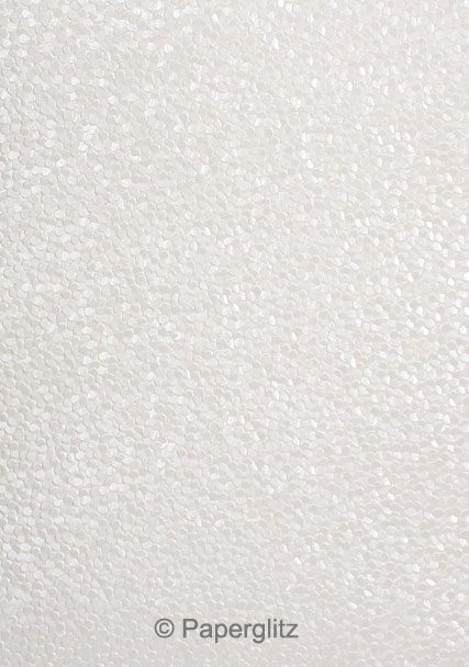 Handmade Embossed Paper - Pebbles White Pearl A4 Sheets