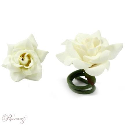 Velvet Mini Roses - White - 9Pck