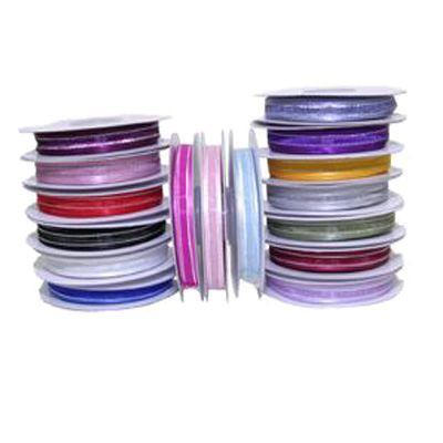 10mm Satin Edged Organza Ribbon with Silver Thread