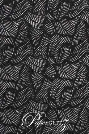 Handmade Glitter Print Paper - Ritz Black & Silver Glitter Full Sheets (56x76cm)