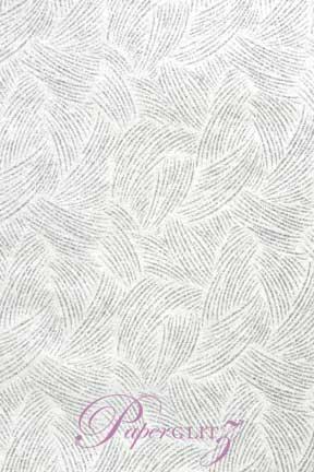 Handmade Glitter Print Paper - Ritz White Pearl & Silver Glitter Full Sheets (56x76cm)
