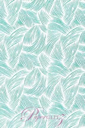 Handmade Glitter Print Paper - Ritz White & Teal Blue Glitter Full Sheets (56x76cm)