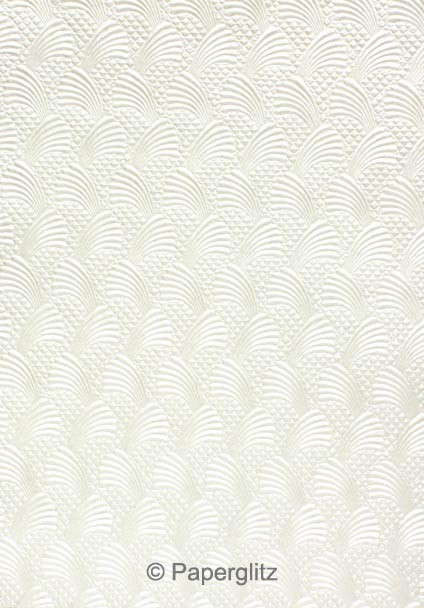 Handmade Embossed Paper - Sea Breeze White Pearl A4 Sheets