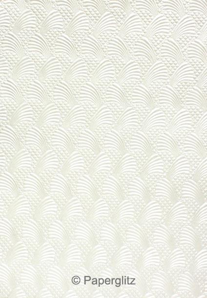Handmade Embossed Paper - Sea Breeze White Pearl Full Sheet (56x76cm)