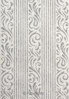 Handmade Glitter Print Paper - Serenity White Pearl & Silver Glitter Full Sheets (56x76cm)