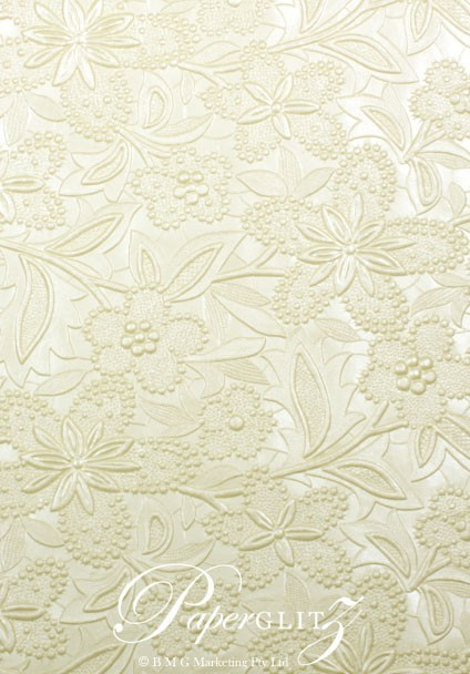Handmade Embossed Paper - Spring Ivory Pearl A4 Sheets