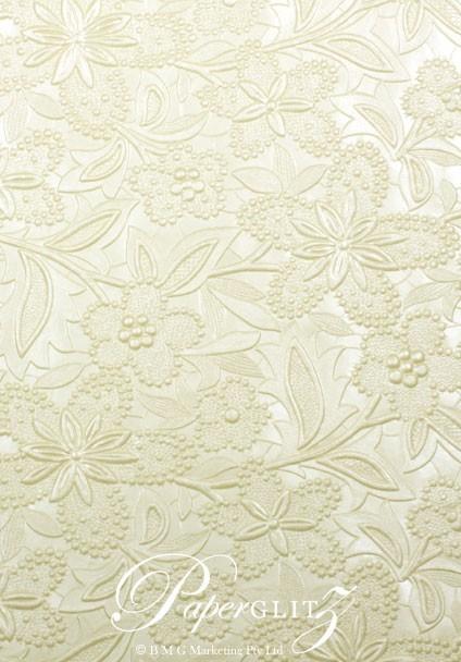 Handmade Embossed Paper - Spring Ivory Pearl Full Sheet (56x76cm)