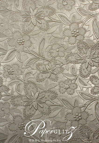 Handmade Embossed Paper - Spring Pewter Pearl A4 Sheets
