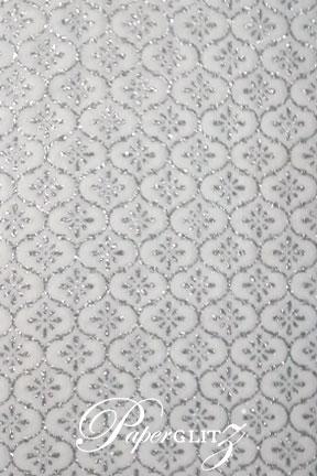 Handmade Chiffon Paper - Taj Royale White  & Silver Glitter A4 Sheets