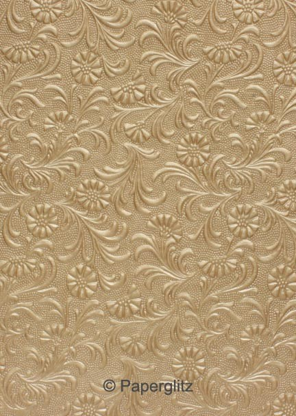 Handmade Embossed Paper - Tuscany Mink Pearl A4 Sheets