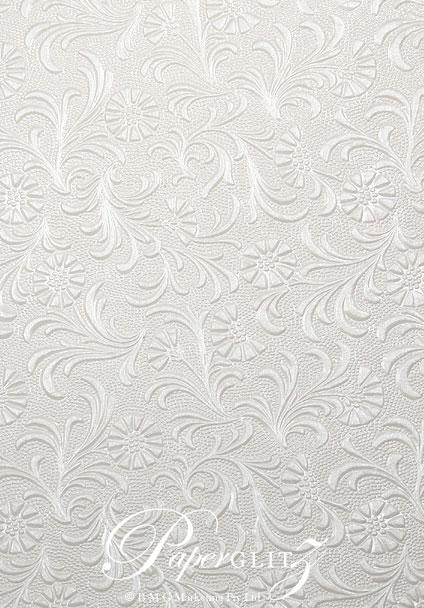 Handmade Embossed Paper - Tuscany White Pearl Full Sheet (56x76cm)
