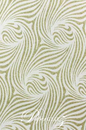 Glamour Pocket DL - Glitter Print Venus White & Gold Glitter