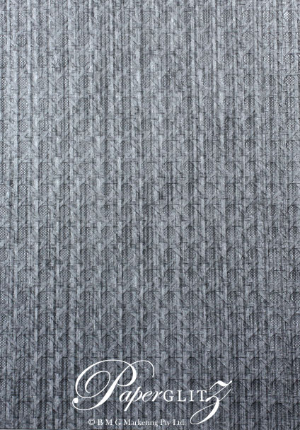Handmade Embossed Paper - Wicker Brushed Midnight Pearl A4 Sheets