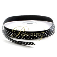 10mm Satin with White Polka Dots - 25Mtr Roll - Black