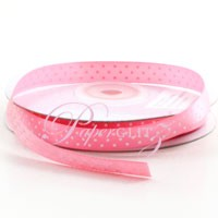 10mm Satin with White Polka Dots - 25Mtr Roll - Pink Carnation