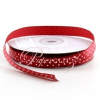 10mm Satin with White Polka Dots - 25Mtr Roll - Jester Red