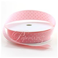 22mm Gros Grain with White Polka Dots - 20Mtr Roll - Baby Pink