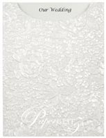Glamour Pocket C6 - Embossed Flowers White Pearl